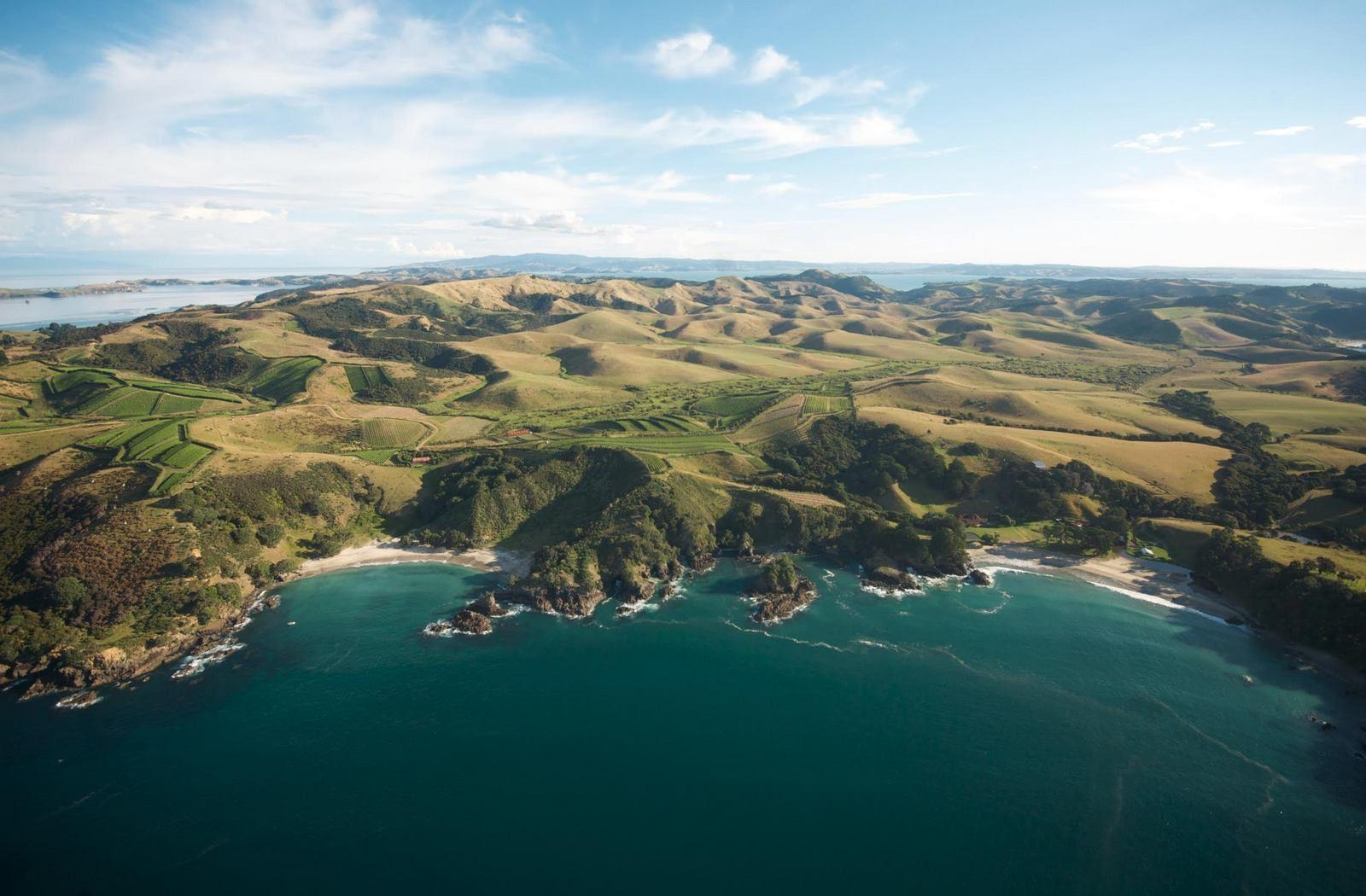 Waiheke Island as seen from a Helicopter