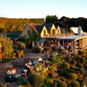 The mudbrick building and French Potager gardens at Mudbrick Vineyard.