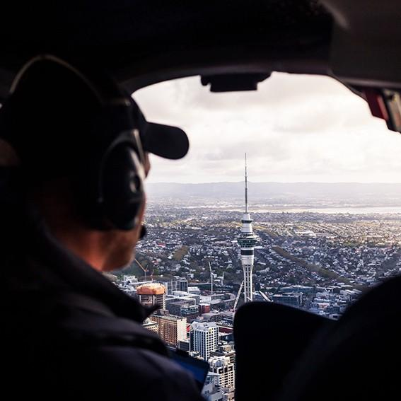 Sky Tower from Inside Helicopter Heletranz