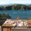 Table set for brunch on the deck at Marino Ridge overlooking the bay