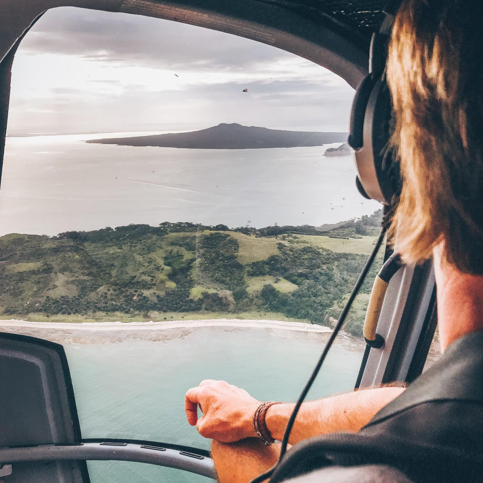 Rangitoto Island from Inside the helicopter