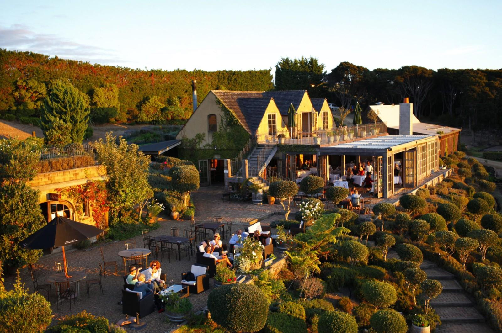 The mudbrick building and French Potager gardens at Mudbrick ...