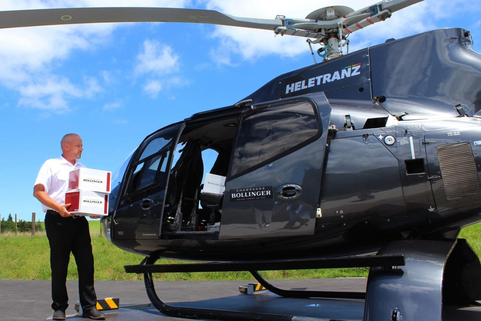 champagne bollinger delivery by helicopter