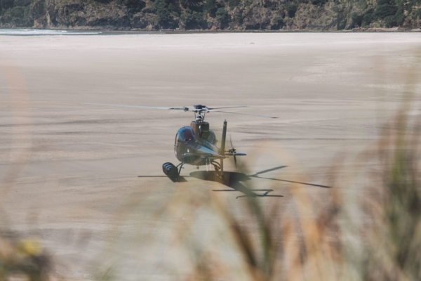 Helicopter landing on the beach