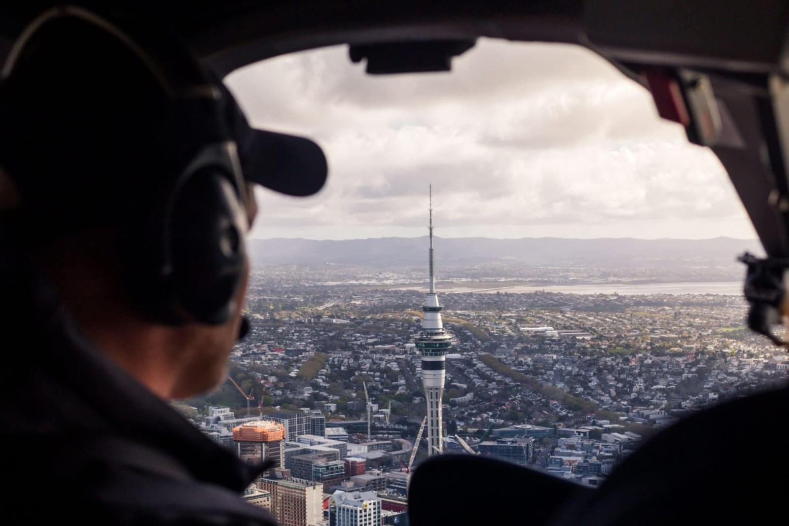 Sky tower From Inside Helicopter
