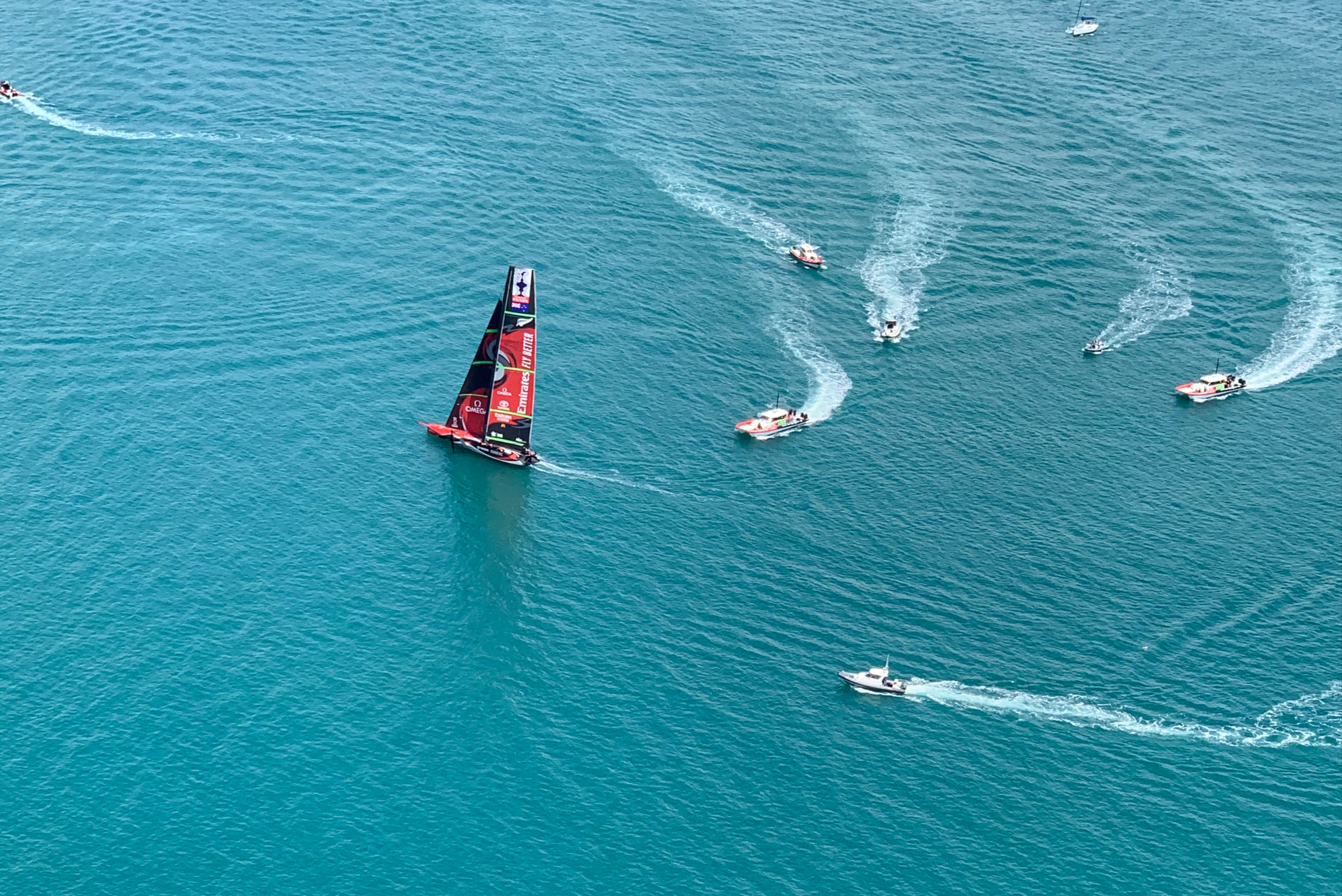Americas cup races from above